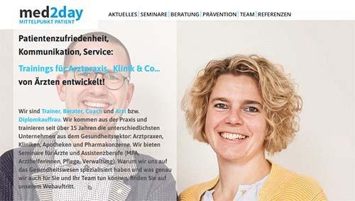 Screenshot der Website www.med2day.com