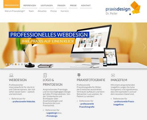 Screenshot der Website www.praxisdesign.de