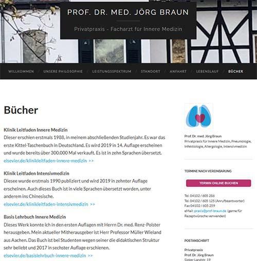 Screenshot der Website www.prof-braun.de