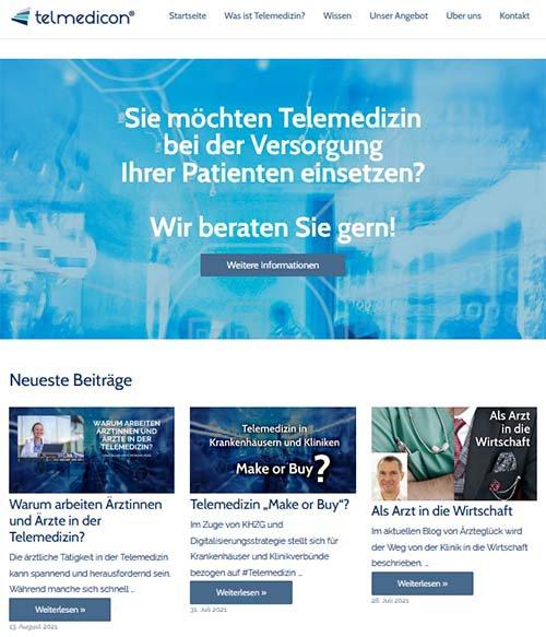 Screenshot der Website www.telmedicon.de